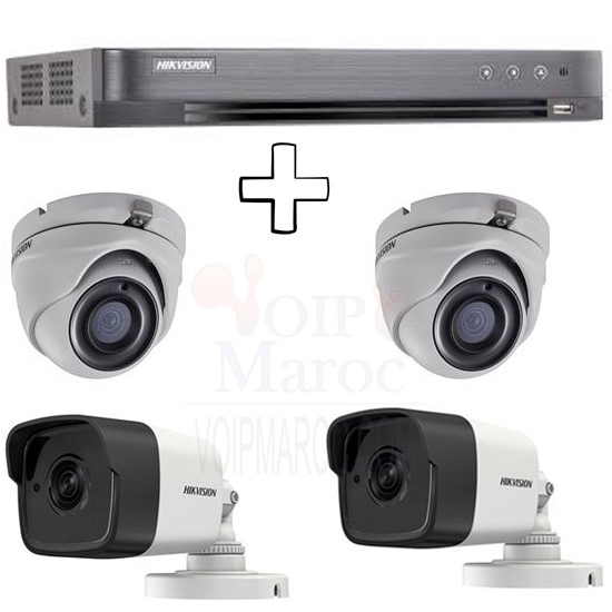 1 DVR TURBO HD 3.0  4 Entrées + 2 CAMERAS DOME TURBO HD 3MP + 2 CAMERAS 3MP EXIR Bullet PACK-4-HD